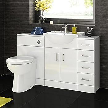 gloss gloss modular bathroom furniture collection. IBathUK 1200 Mm White Gloss Bathroom Vanity Furniture Basin Back To Wall Toilet + Drawer Unit Modular Collection