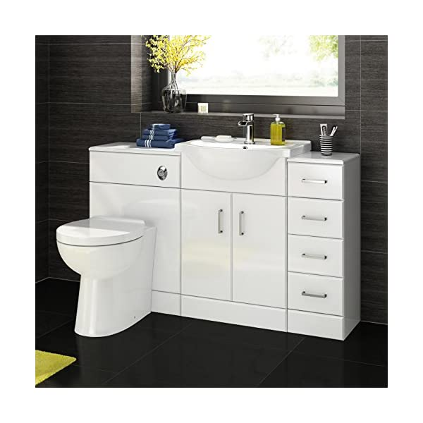 1200 mm White Gloss Bathroom Vanity Furniture Basin Back to Wall Toilet + Drawer Unit 51 sXSKTZjL