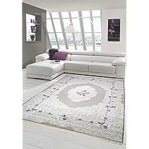 Print Teppich Waschbar Designer Moderner Ornamente Wohnzimmer Bordre Mit Blumen In Lila Creme