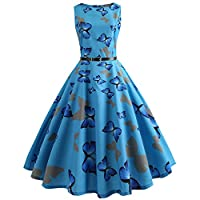 iShine Women Dress,50s Retro Swing Dress,with Sleeveless Round Neck Butterfly Printed Waist Summer
