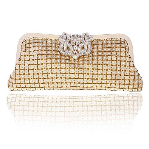 Damara® Ketten Strass Glitzer Damen Kupplung Abendtasche Gold