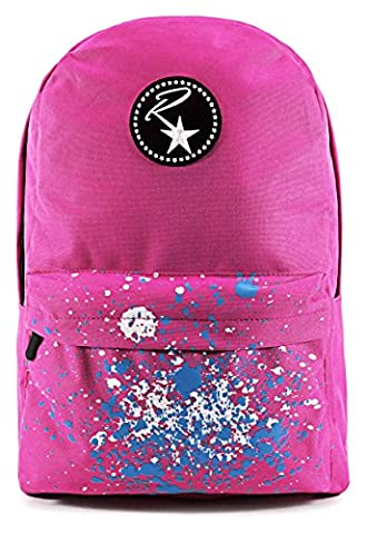  Ruckstar Rucksack mit `paint effect`-Print auf der Vorderseite, verstärkten Nähten und gepolstertem (Hot Pink Thread)