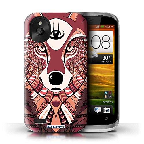Kobalt® Imprimé Etui / Coque pour HTC Desire X / Loup-Vert conception / Série Motif Animaux Aztec Loup-Rouge