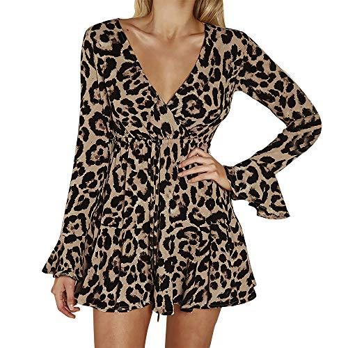 Komise Womens Sexy O-Ausschnitt Leopard Printed gekräuselten Langarm Party Wrap Maxi-Kleid S-2XL (S=E36, - Leopard Kostüm Damen