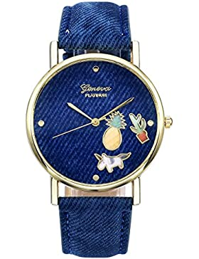 JSDDE Uhren,Fashion Cute Cartoon Einhorn Ananas Kaktus Armbanduhr Denim PU Lederband Damenuhr Kleid Quarz Uhr,...