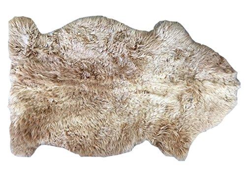 Alfombra piel de cordero CAFÉ CON LECHE natural sin teñir castaño claro ochre para decoración largo 80 / 90 cm