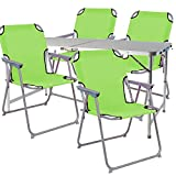 Mojawo ® 5-Teiliges Campingmöbel Set Alu 120x60x58/70cm 1x XXL Campingtisch mit Tragegriff + 4 Campingstühle Limegrün Stoff Oxfort
