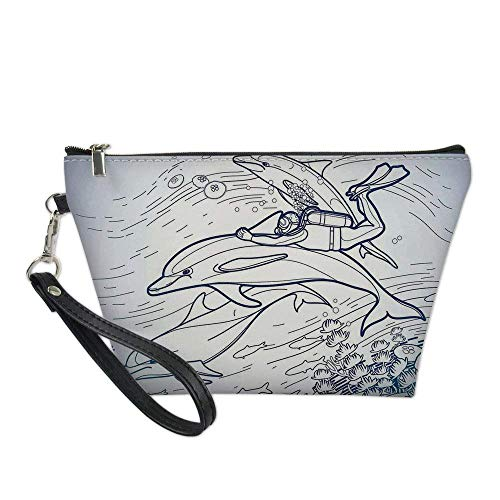 Sea Animals Decor Useful Cosmetic Bag,Sketch of Scuba Diver Holding Fin of Dolphin over Coral Reefs Fish Underwater for Travel ,21.5×14.5×6.5IN -