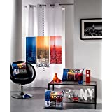 "'Moderno y Equipster suavemente caída cortina/Occultant ""New York City Lights en blanco con maravillosa Escenas de New York en colores Moderno – Cortina – opaca – En alta calidad – tamaño 140 cm de ancho x 260 cm de largo – Aquí en kamaca – shop obtendrá más atractivo Artículo de esta serie"