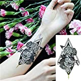 tzxdbh 3Pcs-Lace Owl Hot Black White Big Flower Tattoo Black Mehndi Style Impermeabile Sticker Tattoo 3Pcs-