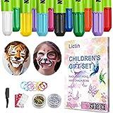 Lictin Pintura de Cara para Niños-Pintura Facial de 8 Colores, 6 Tintes para Cabello, 2 Purpurinas, 1 Pegatinas de Tatuaje, 2