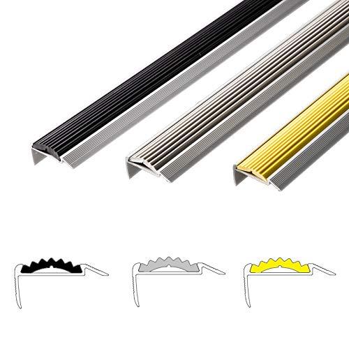 Alu Treppenkantenprofil Power Grip | rutschhemmende Gummi-Einlage | unsichtbare Montage: selbstklebend/vorgebohrt | Treppenwinkel Profil in 3 Farben & Längen (vorgebohrt, schwarz, 90 cm)