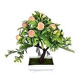 Houysehome Künstlicher Obstbaum, Bonsai Decorative Plant Collection, 8,66 Zoll, Apfelbaum, Orangenbaum, Pfirsichbaum, Grün