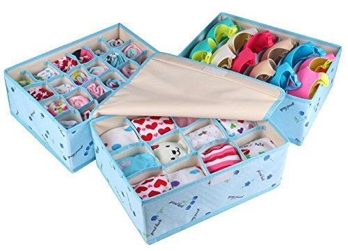 Qubabobo Oxford panno 3PC Storage box set, tappo calzini Bra Underwear organizer 32x 26x 13cm Blue Cherry