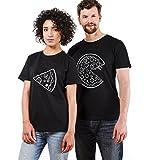 Pärchen T-Shirts Set Shirts für Paar Partner Look Baumwolle Liebhaber Pizza Tshirt (schwarz-Herr-M+Dame-L)
