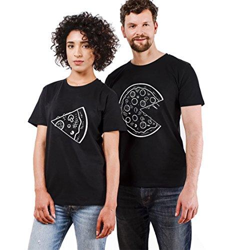 t Shirts für Paar Partner Look Baumwolle Liebhaber Pizza Tshirt (schwarz-Herr-M+Dame-S) ()