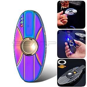 Inpay - USB Ricaricabile Accenditore Elettronico della Sigaretta - Colorata LED Luce Antivento Mini Bobina Accendino - Outdoor Camping Nessun Gas Senza Fiamma Portatile Candela Accendifuoco (Liscio, Colorato)