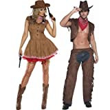 Damen & Herren Fieber Cowboy & Cowgirl Wilder Westen Western Sheriff Paar Verkleidung Kostümparty Kostüme passend Outfits - Braun, Ladies UK 16-18 & Mens Medium