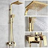 Robinets de baignoire De luxe en laiton doré robinet de salle de bains mitigeur Robinet de douche mural à main fixé au mur Ensembles de robinets de douche Chrome poli