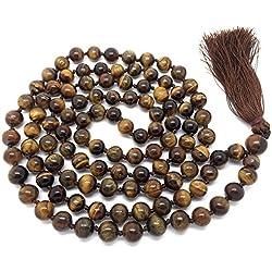 Ojo de tigre Japa Mala 108 cuentas cada 8 mm de ancho, con nudos en el medio, más 1 más grande del grano gurú, 43 pulgadas de largo, con las piedras preciosas reales