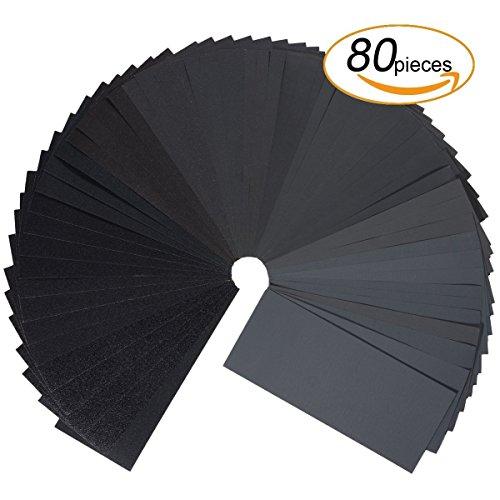 Schleifpapier Set,80 Stück 320 to 3000 Grit Schleifpapier Sortiment Trocken/Nass Für Automobilschleifen Holzbearbeitung und Holzdrehen, 9 x 3,6 Zoll