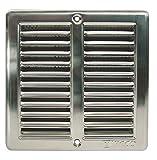 Edelstahl Lüftungsgitter 150x150mm Abluftgitter mit Insektenschutz und Einbaurahmen
