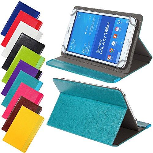 Universal elegante Kunstleder-Tasche für verschiedene Tablet Modelle (7 / 8 Zoll, Türkis) Größe Schutz Case Hülle Cover Neigungswinkel verstellbar, mit Gummibandverschluss in gleicher Farbe
