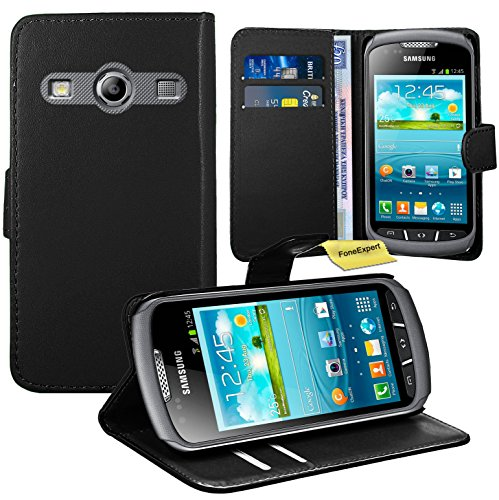 Samsung Galaxy Xcover 2 Handy Tasche, FoneExpert® Wallet Case Flip Cover Hüllen Etui Ledertasche Lederhülle Premium Schutzhülle für Samsung Galaxy Xcover 2 S7710 (Schwarz) (Galaxy Ii Handy-fällen)