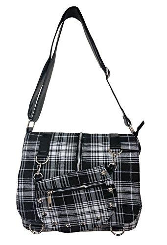 Banned Messenger-Bag im Vintage/Retro-Look mit Tartan-Muster, Handtasche weiß