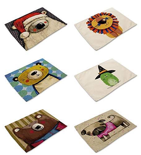 Tovagliette set da 6,lino e cotone tessuto miscelato 42 x 32 cm rettangolare non slip resistente al calore creative orso e cane più cartoon animale stampa panno lavabile per bambini tavolo da pranzo