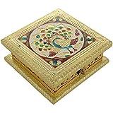 Soni Handicraft Wooden Decorative Minakari Dry Fruit Box (15 Cm X 15 Cm X 6 Cm)