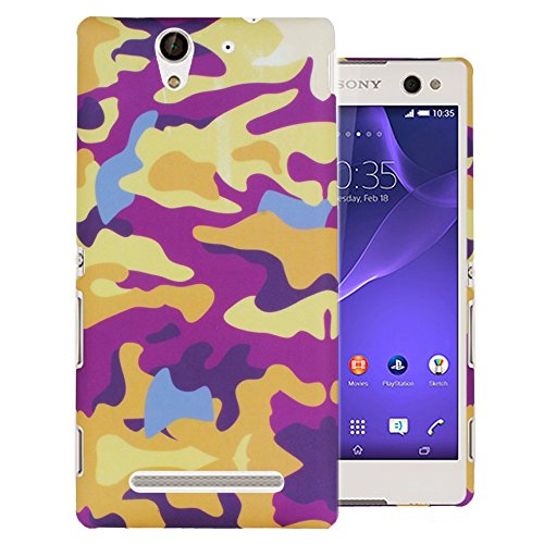 Heartly Army Style Retro Color Armor Hybrid Hard Bumper Back Case Cover For Sony Xperia C3 Dual Sim D2533 - Yellow Field  available at amazon for Rs.249