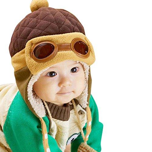 BakeLIN Baby Jungen Mädchen Kleinkind Winter Warme Mütze Earflap Beanie Pilot Aviator Hut Kappe Mit Fleece Futter (Jungen Fleece-pilot)