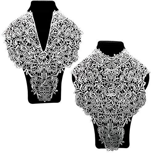 2 Stück Exquisite Stickerei Venise Ausschnitt Spitze Große Spitze Kragen Kostüm Kleid Kleid feine Applikation Muster Kleid Besatz für Hochzeit Kleid Dekoration vorne nach weiß