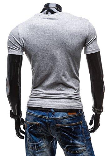 BOLF Herren T-shirt Figurbetont Kurzarm GLO-STORY 7427 Grau
