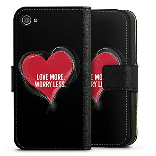 Apple iPhone X Silikon Hülle Case Schutzhülle Liebe Sprüche spruch Sideflip Tasche schwarz