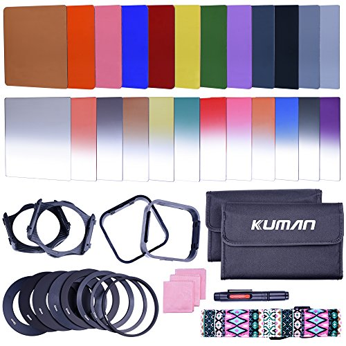 Kuman Complete 24 Pieces Square Filter Sets Filters Kit Compatible with Cokin P Series Bundle with Filter Holder Adaptor Ring Lens Hood Cleaner Strap for DSLR Cameras(44 Items) KH01 (Speed Ring-kit)