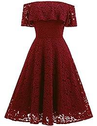 MIUSOL Damen Vintage 1950er Cocktailkleid Retro Spitzen Off Schulter Schwingen Pinup Rockabilly Abendkleid Rot/Navy Blau Gr.XS-XXL