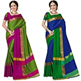 Art Decor Sarees Women's Cotton Silk Sarees with Blouse Piece(kumhaar Black_Green Blue_Free Size) - Pack of 2