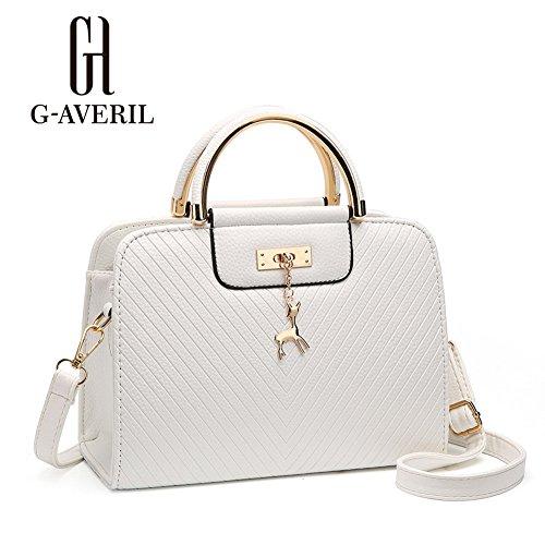 (G-AVERIL) Borse a Spalla e tracolla eleganza elegante Moda Donna bianco