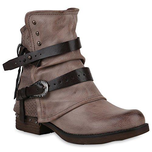 Stiefelparadies Damen Stiefeletten Biker Boots Leicht Gefütterte Booties Schnallen Schuhe 147635 Khaki Nieten 37 Flandell