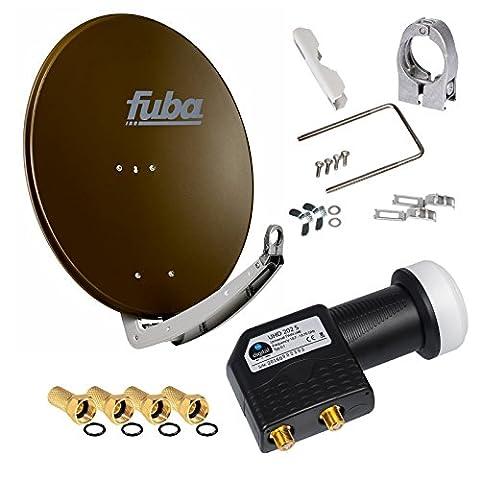 FUBA 2 Teilnehmer Digital SAT Anlage DAA650B braun + Hochwertiger marken Twin LNB (2 Teilnehmer, direkt) von HB-DIGITAL schwarz 0,1dB FULL HDTV 2K + 4 x Vergoldete F-Stecker