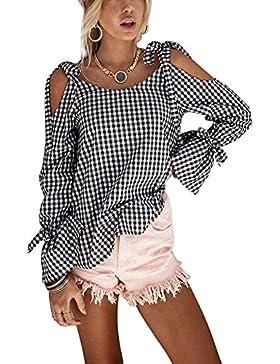 Minetom Mujer Verano Atractivo Cuello Redondo Off Shoulder Blusas Manga Larga Tartán Camisas Bowknot Tops