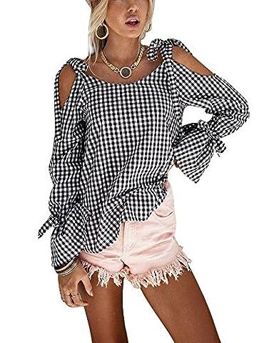 Minetom Femme Dentelle Mousseline Crochet Hauts Chemise Élégant Sans Manche Shirts Noir FR 36