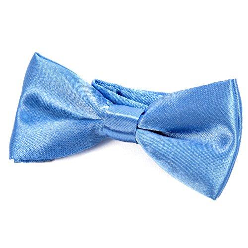 DonDon® Edle Kinder Jungen Fliege gebunden und längenverstellbar 9 x 4,5 cm hellblau glänzend in Seiden Look