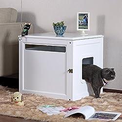 Petsfit Casa de madera del animal doméstico, caja de la litera del gato, pintura respetuosa del medio ambiente, blanco, los 60cm los x 50cm los x 55cm