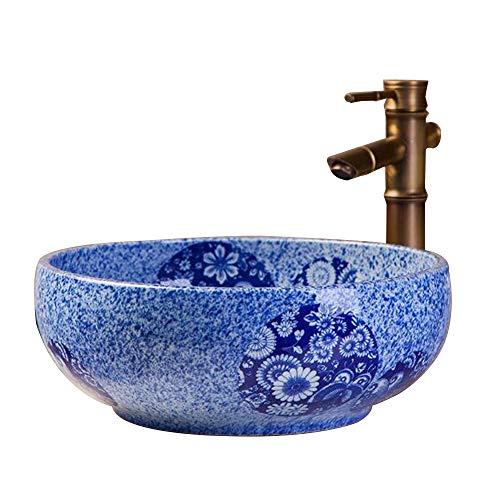 -Becken blau Runde Keramik Küche Balkon Kunst WC Hotel Bad Waschbecken mit Wasserhahn Set 41 * 15 ()