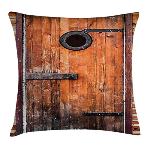 Rustic Throw Pillow Cushion Cover, Photograph of Antique Knotted Pine Wood with Control Window Lumber Nature Design, Decorative Square Accent Pillow Case, 18 X 18 Inches, Caramel Brown - White Pine Lumber