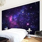 Vliestapete, hochwertige Fototapete, XXL-Wandbild im Querformat, Wandschmuck in 3D-Optik, für Schlafzimmer/Wohnzimmer, Maße (H x B): 255 x 384cm; Motiv: Galaxie.