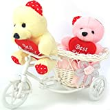 2 Teddy Bear On Cycle Special Gift For Valentines day /Best Valentines day gift For Girlfriends , Boyfriends ,Husband , Wife,